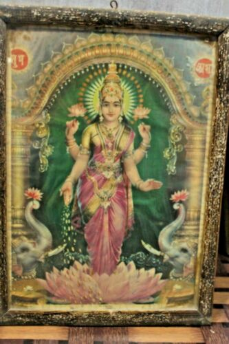 Old  vintage antique framed with hindu relgious  print rare collectible