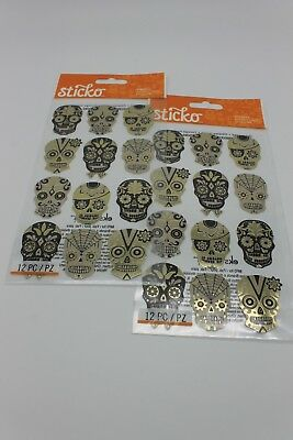 Sticko Metallic Sugar Skull Silhouette Stickers Scrapbook Halloween Cinco de Mao - Halloween Silhouette Stickers