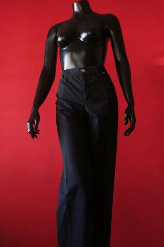 Rare Vintage Escada Navy Blue Cotton High Waist Tailored Pants Womens Size 46