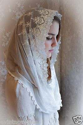 Vintage Lace Veil - Evintage Veils~ Our Lady Vintage Inspired White Lace Infinity Veil Mantilla