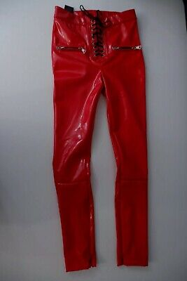 unravel project Red Latex Trousers Skinny Stretch Size W25 Uk 6 Xs