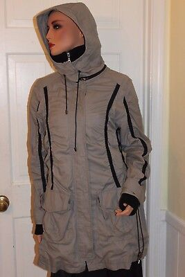Used, Women's  G.E.T. Zipper Button Jacket  Hood Coat Gray Size M for sale  USA
