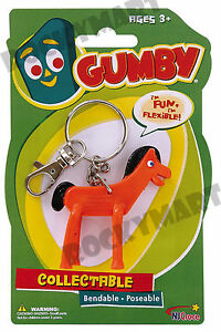 POKEY-KEYCHAIN-From-Gumby-Bendable-Cartoon-Toy-Figure