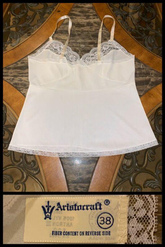 Camisole White Nylon Antron Aristocraft Lace Vintage Straps 1970s Sz 38