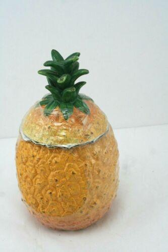 """Pineapple Ceramic Lidded Cookie Jar Treats Cookies -12.25"""" Tall"""