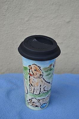 Wheaten terrier.  Handpainted ceramic travel mug .OOAK .LOOK