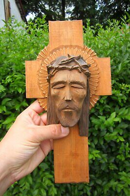 Extraordinary Old cross Wood Wall Picture Carved 29 cm Handmade
