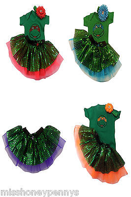 BABY GIRL NINJA TURTLE MUTANT SPARKLE NEON TUTU 80S FANCY DRESS COSTUME  DANCE