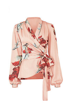 $350 PatBO ANTHROPOLOGIE INTERMIX PINK POLYESTER FLYING FISH WRAP TOP BLOUSE 4