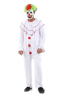 Pennywise Vintage Clown Costume Mens Ladies Halloween Killer Scary Fancy Dress