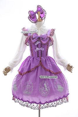 JL-556 Lila Vintage Schleife Kleid Bluse Chiffon Gothic Lolita Cosplay (Chiffon Vintage Kostüm)
