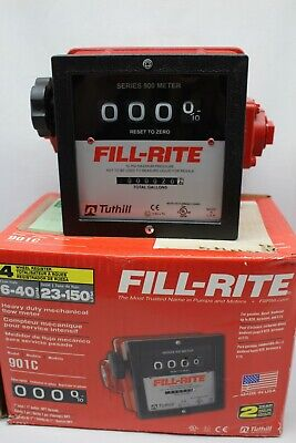 New Fill-rite 901c 6 - 40 Gpm 1-inch Npt Thread Nonresettable Totalizer Meter