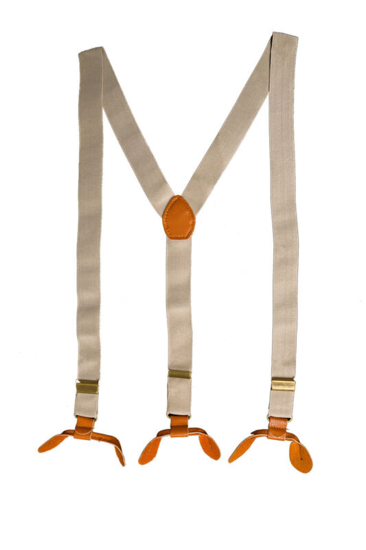 Beige Unisex Suspender Braces Adjustable Leather Button Holes Elastane Mens Wear