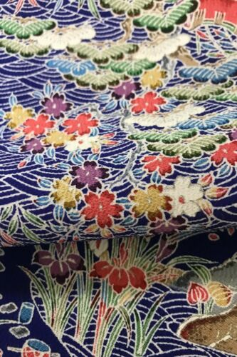 @@150 cm x 35 cm  Japanese kimono silk fabric/ smooth crepe/ dark blue base F59