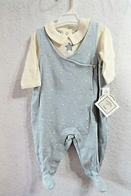 New Boys Lullaby Club Blue Overalls Outfit Set Size 0-3 months  (New Lullaby Set)