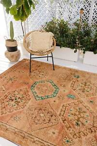 Peach Taupe One Of A Kind Moroccan Rug