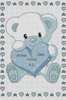 Birth Sampler Baby Bear with Heart in Blue Cross Stitch Chart No. (Heart Birth Sampler)