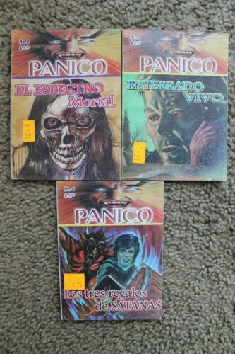 PANICO, LOT OF 3 MEXICAN COMICS, LIBRO VAQUERO, Solitario, Kaliman, memin