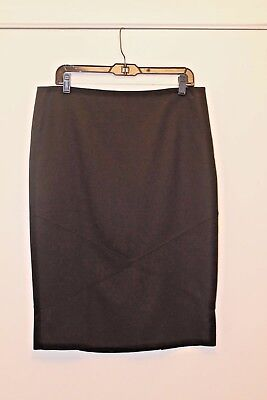 SHAMASK Black Wool Double Back Pleat Skirt  NEW Size (Double Back Pleat Skirt)