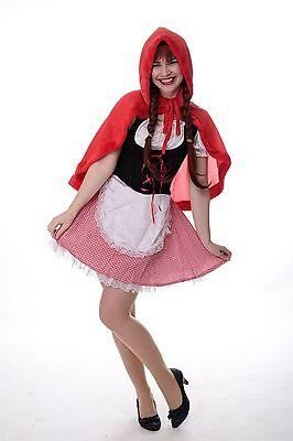 DRESS ME UP - Kostüm Damen Dirndl Haube Sexy Rotkäppchen Red Riding Hood Gr. S/M ()