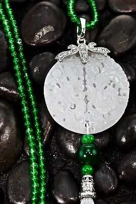 Natural AAA light ice kind of the white and green jadeite jade  luck guanyin 925 silver inlay pendant silver necklace