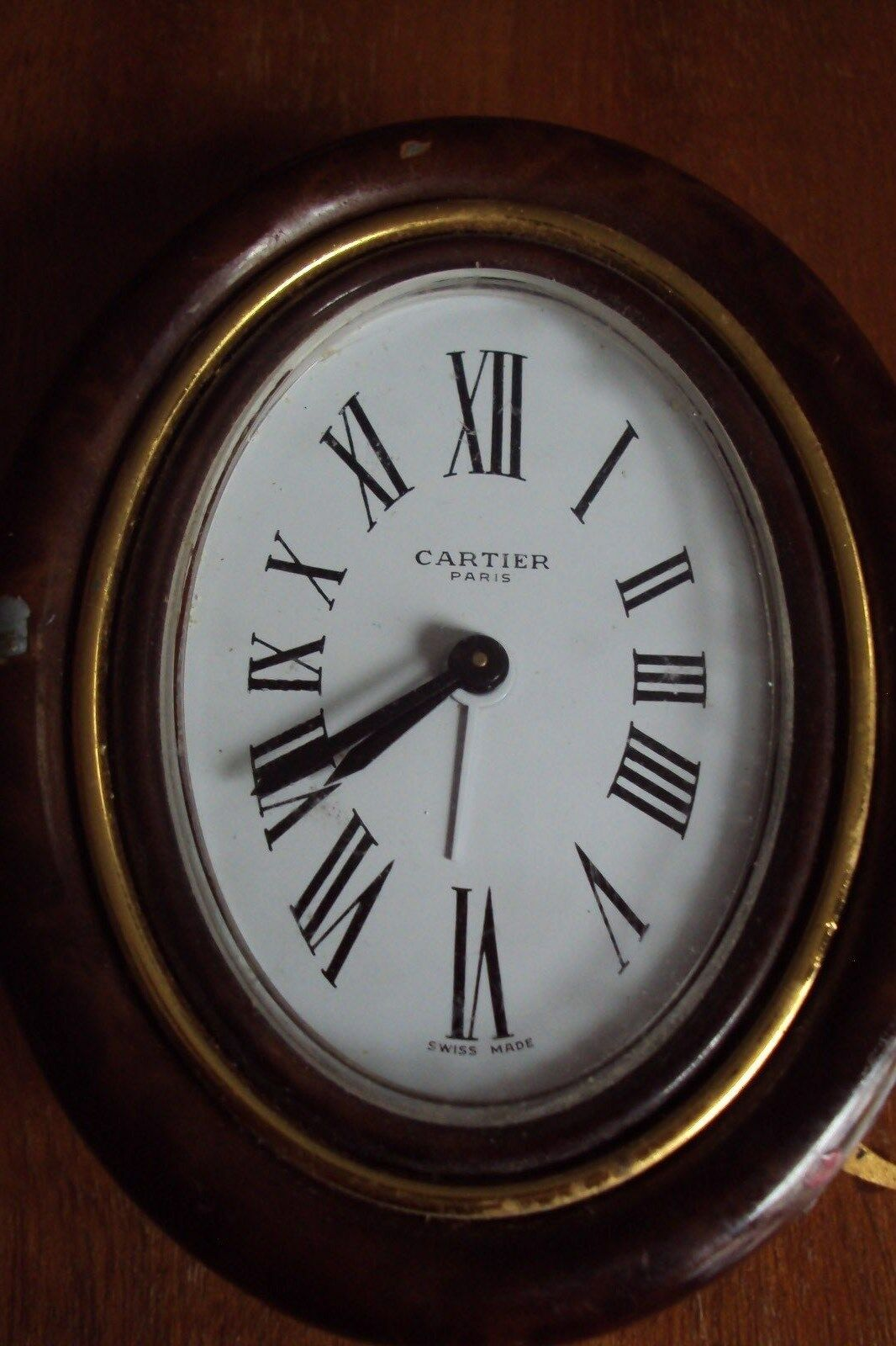 Vintage Cartier Oval Brass+Enamel Travel Alarm Clock