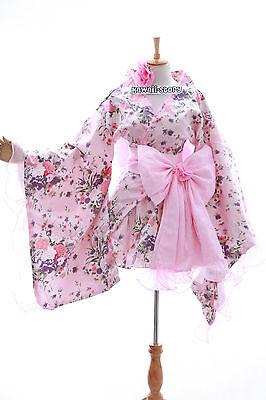 h-532 Rosa Pink Flower Blumen Wa-Qi Lolita japan Kimono Kostüm costume Set