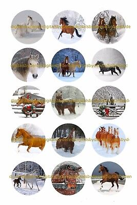 Christmas Horses 1  Circles Bottle Cap Images   2 45  5 50    Free Shipping
