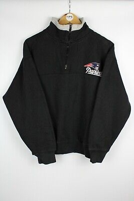 Vintage NFL New England PATRIOTS 1/4 Zip Sweatshirt Jumper Black | Small