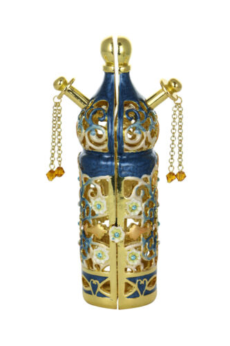 "6"" Inch Jewish Blue and Gold Ornate Metal Torah Scroll Holder"