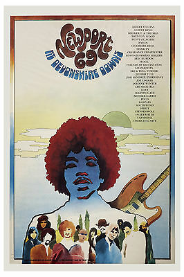 1960's Rock: Jimi Hendrix at Newport 69 at Devonshire Downs Concert Poster 1969