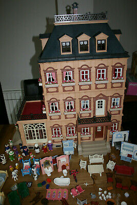 Playmobil Large Victorian Mansion Dolls House 5300 with extension Floor & Extras