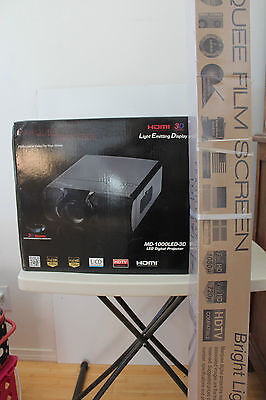 Marquee Digital Labs MD-1000LED-3D Home Theater Projector & Film Screen NEW S70