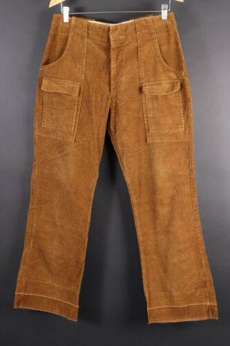 Vintage 70s CORDUROY Bootcut Cargo Pocket Bush Pants USA Mens Size 32x30