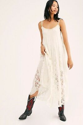NEW FREE PEOPLE Sz L FP ONE VICTORIAN LACE WHITE FLOWY MIDI MAXI DRESS IVORY