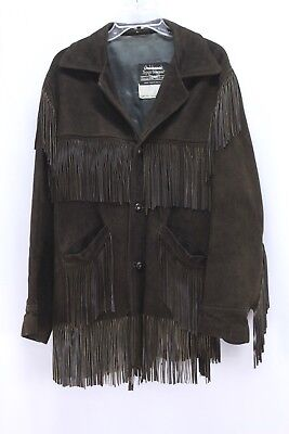 vintage mens brown WESTERN FRINGE LEATHER JACKET suede retro biker sears M for sale  Shipping to India