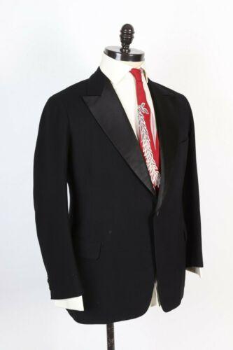 Vintage 30s Wool Silk Black Formal Tuxedo Tux Coat Jacket USA Mens Size 40
