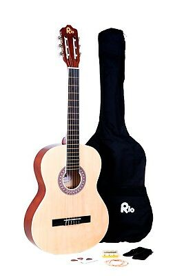 Rio 39'' Full Size 4/4 Beginner Classical Acoustic Guitar Pack Package Natural