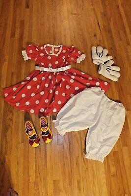 Adult Minnie Mouse Dress (MINNIE MOUSE Disney Yellow SHOES sz 8 ADULT DRESS Pantaloon Gloves Sz S M)