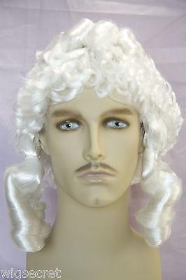 Fun Wigs For Men (Plain White Fun Color Medium Curly Costume Wigs Men)