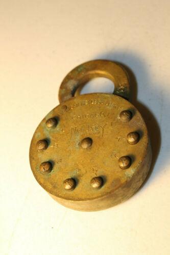 Antique Brass American Keyless Push Button No-Key Pancake Pad Lock 1909 Padlock