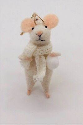 HANDMADE needle felted- Molly the Snowball Mouse - Christmas Decor - -