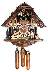 cuckoo clock hettich black forest 8 day original germany  music wood chopper new