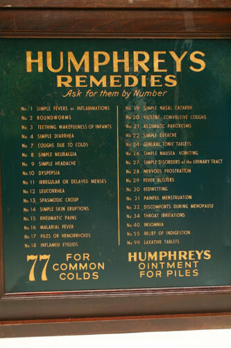 ANTIQUE HUMPHREYS APOTHECARY CABINET TIN SIGNS DRUG STORE MEDICAL BOTTLE