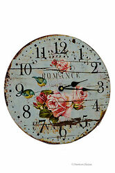 European-Design 13 Large Wood Romance Pink Roses & Birds Turquoise Wall Clock