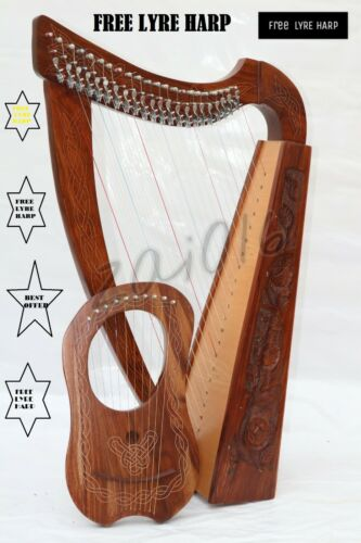 22 Strings Harp with Levers & Free Lyre Harp,Free Carry Soft Black Bag & Key