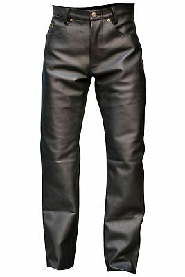 Mens Classic Black Genuine Leather 5 Pocket Motorcycle Pants ( FAST SHIPPING )
