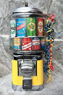 BEAVER RETRO SWEET VENDING DISPENSING CANDY GUM BALL MACHINE YELLOW BEER CANS