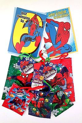 Spider-Man Boy's 2 Medium Gift Bags 3 Small Gift Bags 2 Greeting Cards NWT