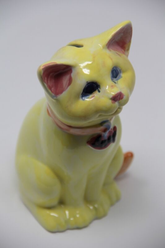 Yellow Cat Figurine Ceramic-Porcelain Coin Bank - Vintage